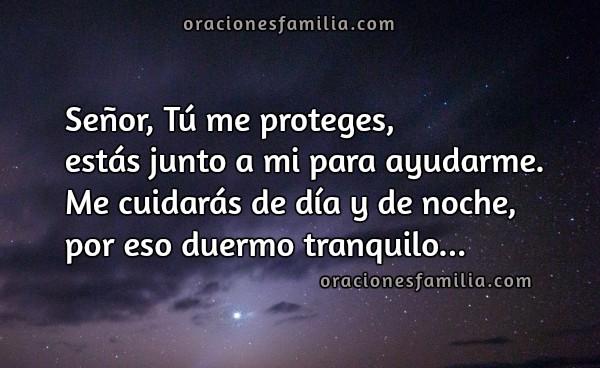 Oración corta cristiana de la noche, dormir tranquilo Dios está conmigo esta noche, oraciones de familia por Mery Bracho