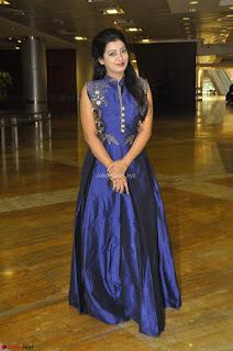 Gorgeous Ever Beautiful Tarunika Singh in Blue Ethnic Anarkali Dress at Hi Life Exhibition curtain raiser 23rd March 2017