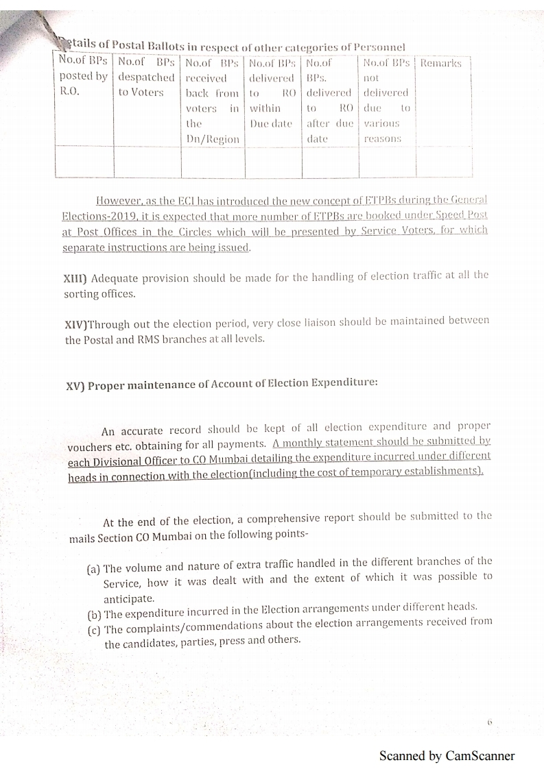 DOP Instructions regarding election