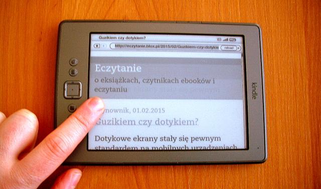 Guzikiem czy dotykiem? Czytnik Kindle 4 ze stroną bloga Eczytanie