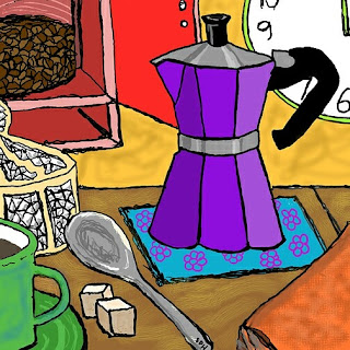 Moka Pot Joy Drawing