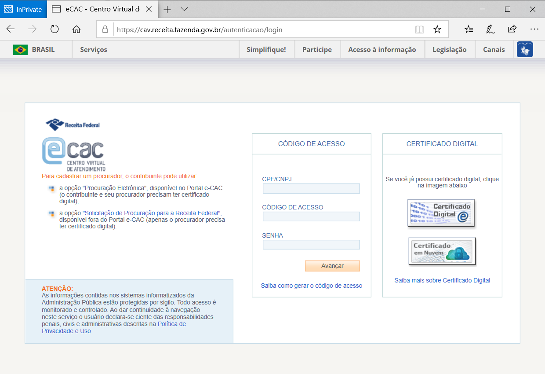 portal e-cac receita federal