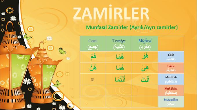 Arapça Zamirler (Munfasıl Zamirler - Muttasıl Zamirler) Konu Anlatım - Çekim Tablosu + Sunu