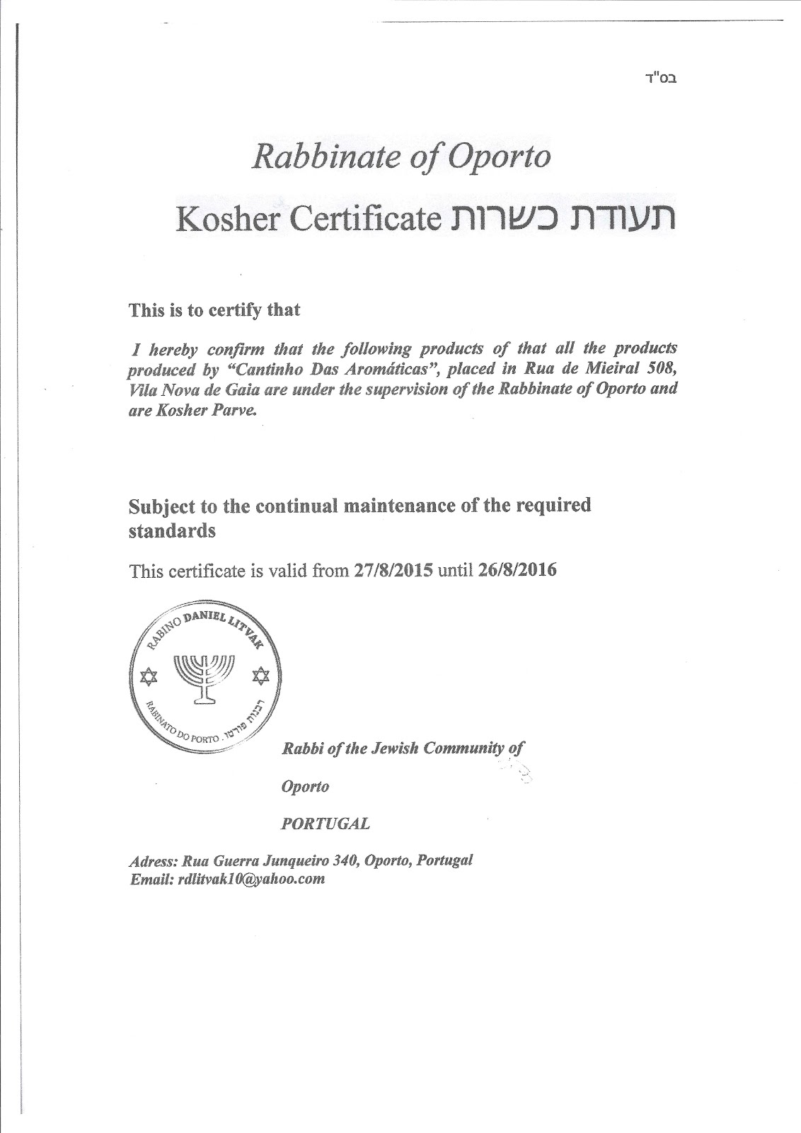 Certificado Kosher 2016