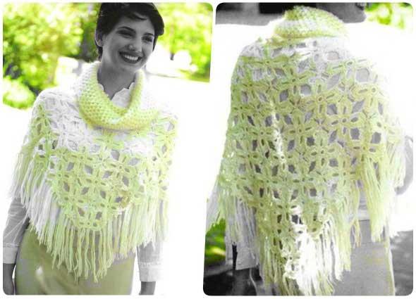 poncho-capa completamente intemporal con motivos de estrellas y cuello barco desbocado, interesante prenda para tejer