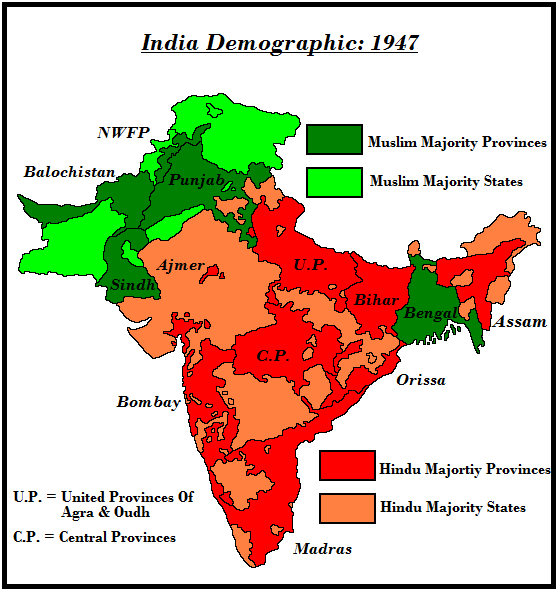 The Above Map Shows The Provinces Of British India And Also The Areas  Covered By The Princely States. In Addition To That It Also Shows The  Religious ...