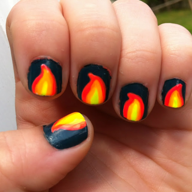 Flame Nail Art , Flame Nail Arts , Flame Nail Art Ideas, Nail Art Ideas
