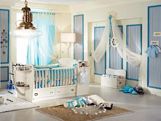 cuarto de bebé en celeste y blanco