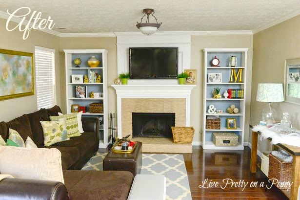 bookcases by fireplace