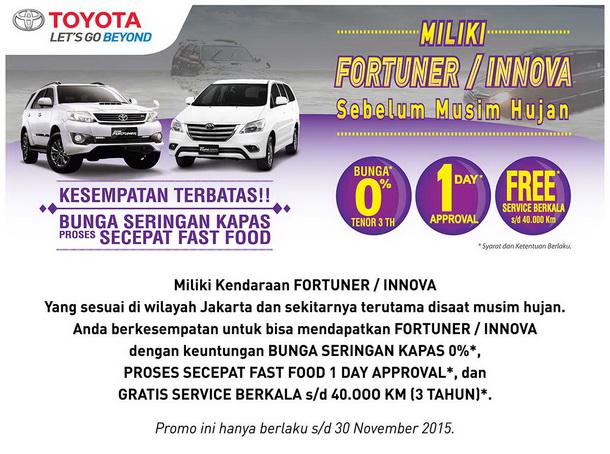 Promo Toyota Fortuner dan Rush Bunga 0 Persen
