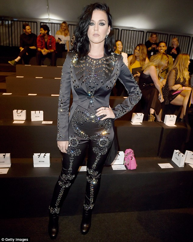 Katy Perry goes goth chic for the Moschino Resort 2017 show