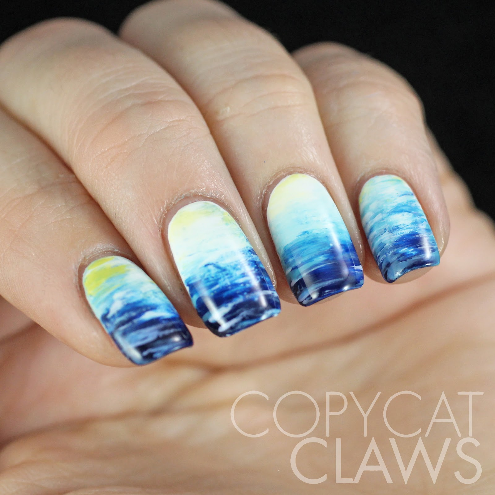 Copycat claws march 2015 the digit al dozen does nature day 3 fan brush ocean nail art prinsesfo Image collections