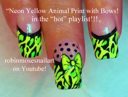 Nail Art By Robin Moses Neon Animal Print Nails Neon Leopard Nails