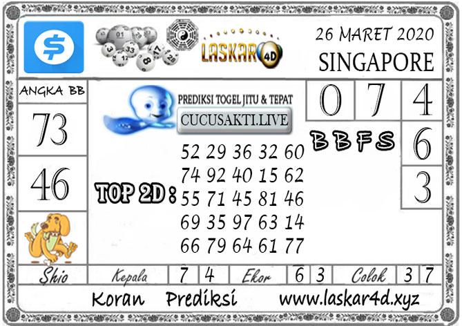 Prediksi Togel SINGAPORE LASKAR4D 26 MARET 2020
