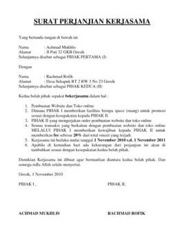 Contoh Surat Perjanjian Yang Baik Dan Benar Indarto