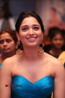 Actress Tamannaah Pictures in Blue Long Dress at Abhinetri Audio Launch  0117