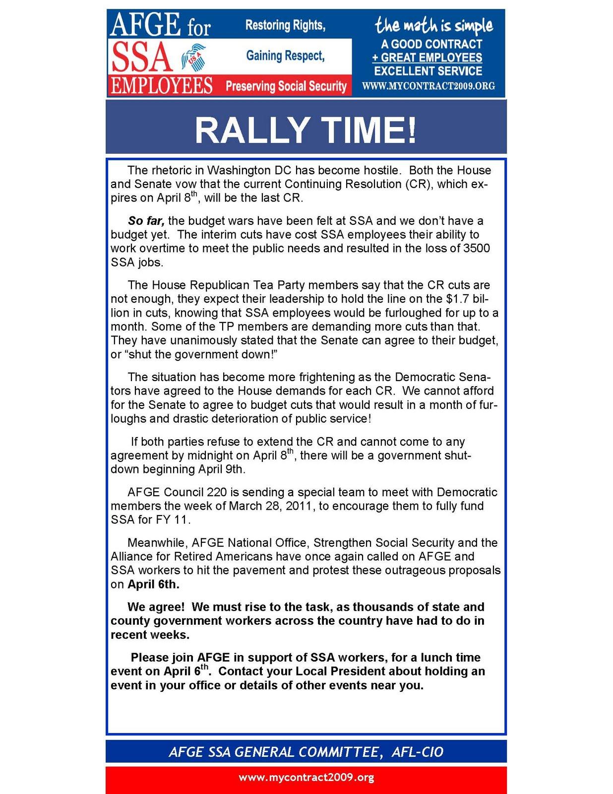 Social Security News: AFGE Plans Rallies On Budget