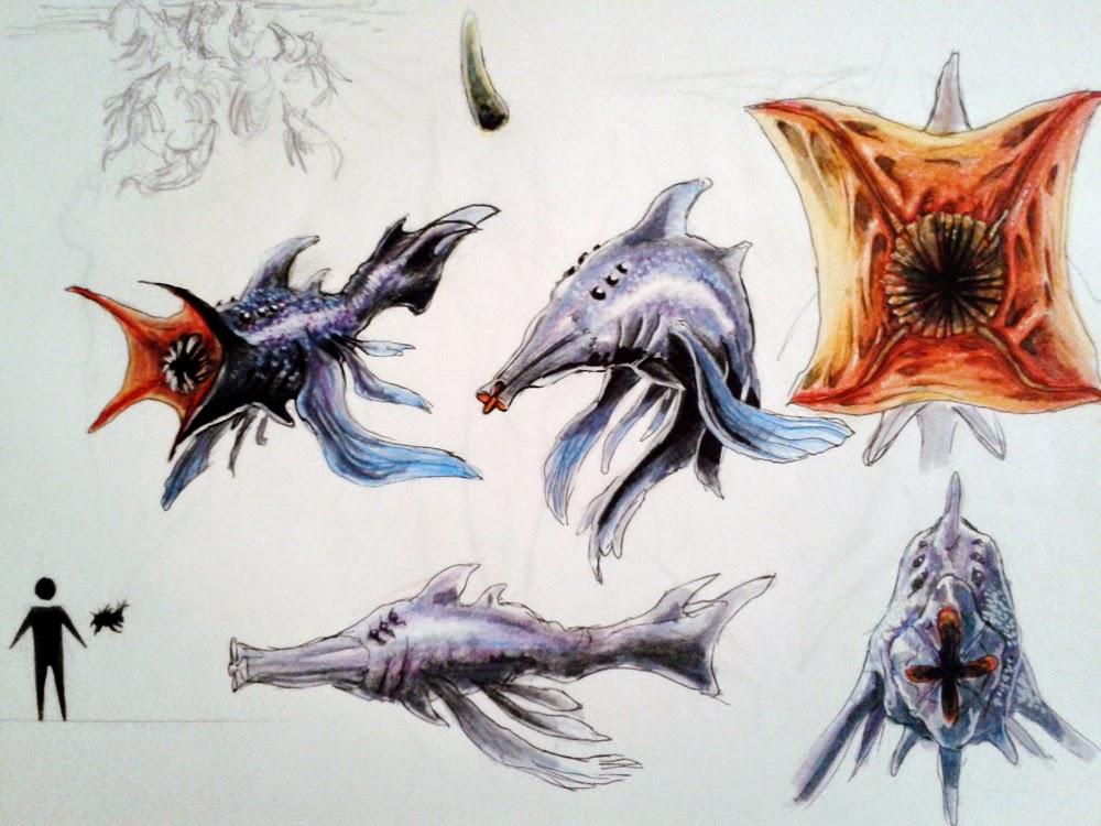 creature design, sketchbook, sci-fi, alien fish, fish, peixe alienigena,douglas deri, deri, deriart