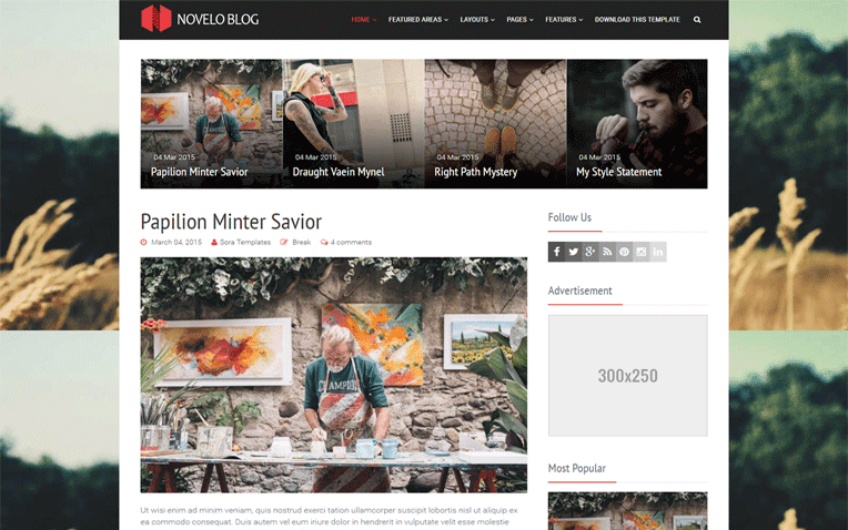 Novelo Blog Free Blogger Template