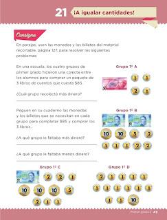 Apoyo Primaria Desafíos matemáticos 1er grado Bimestre 2 lección 21 ¡A igualar cantidades!