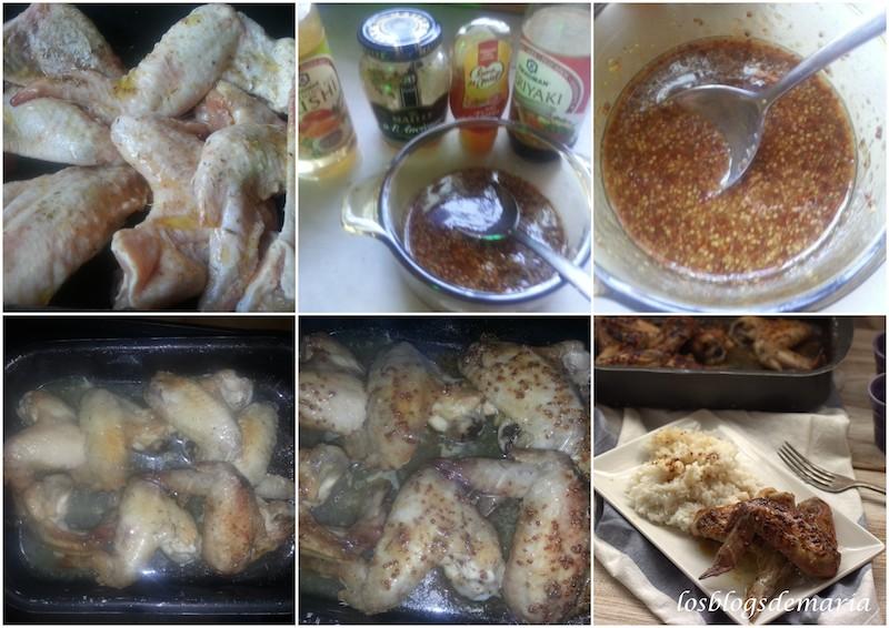Alitas de pollo con mostaza, miel, teriyaki y vinagre de arroz
