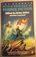 Book cover to the Penguin World Omnibus of Science Fiction edited by Brian Aldiss