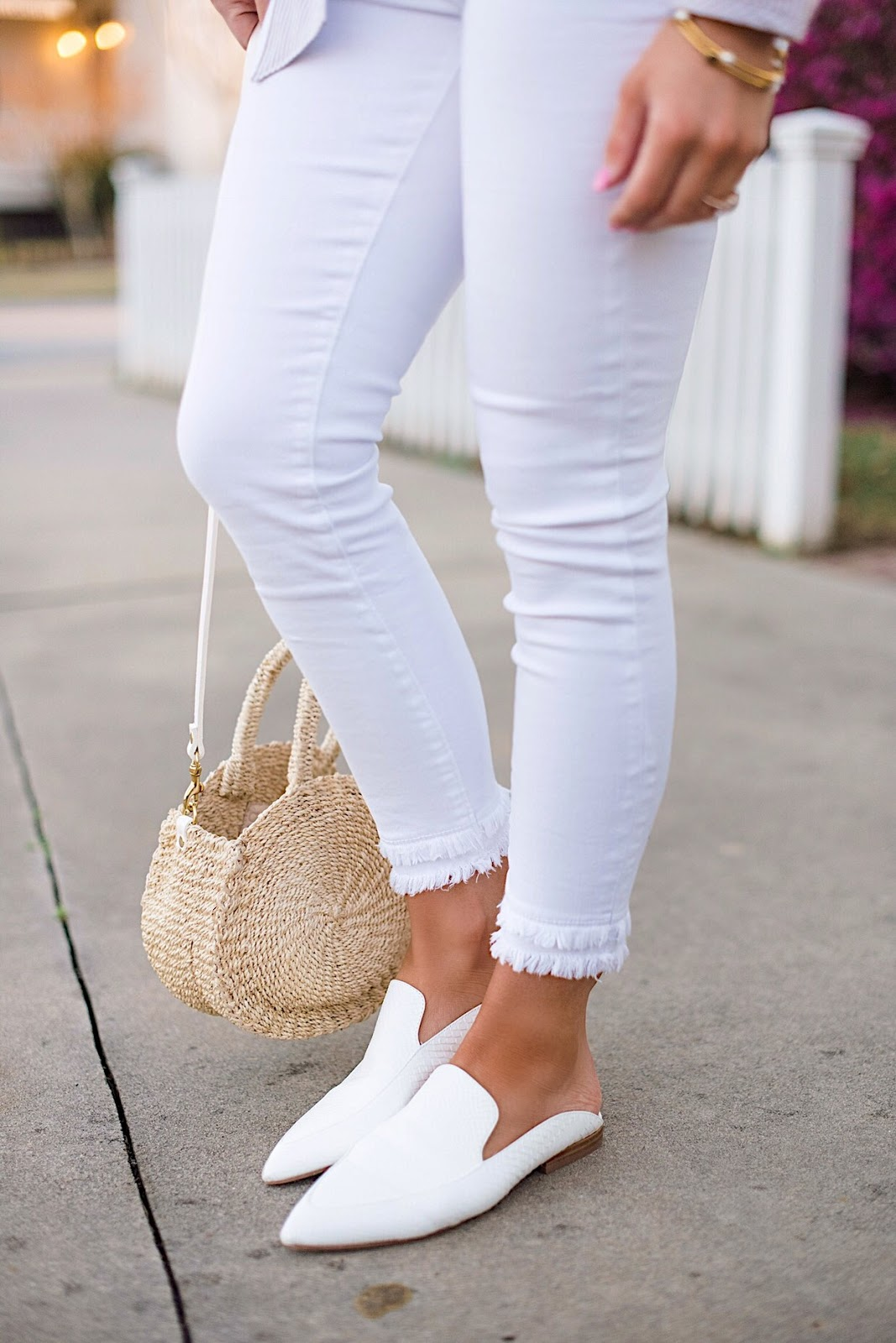Spring Style Frayed Hem White Jeans - Click through for the full post on Something Delightful Blog