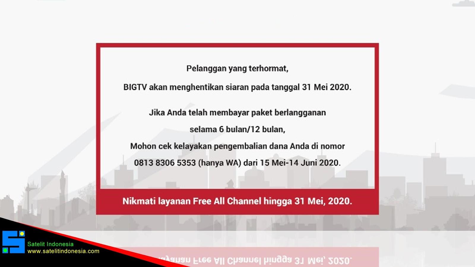 Big TV Sudah Tutup Akan Tidak Ada Sinyal