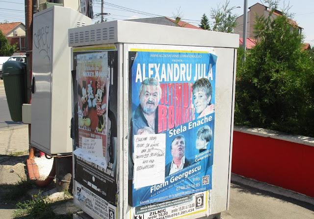 Firmă amendata pentru ca a lipit postere publicitare in intersecții și nu le-a curățat după spectacole.