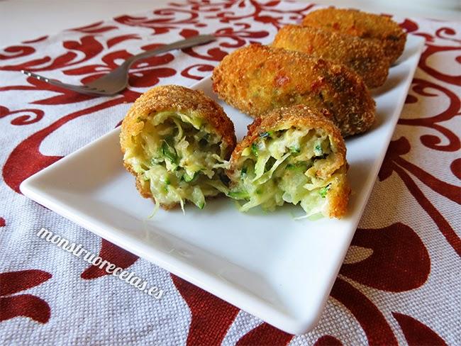 Croquetas de calabacín y queso feta o Kolokizokeftedes. Receta griega