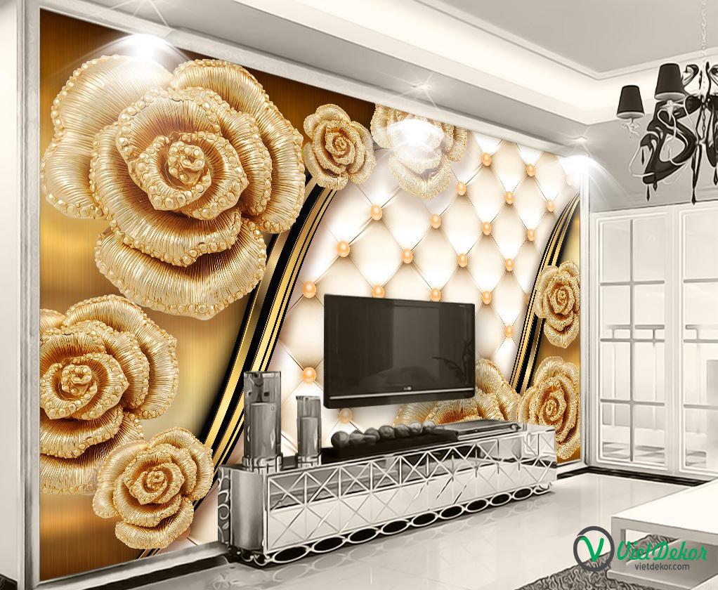 Tranh 3d dán tường hoa ngọc mẫu đơn ngọc trai