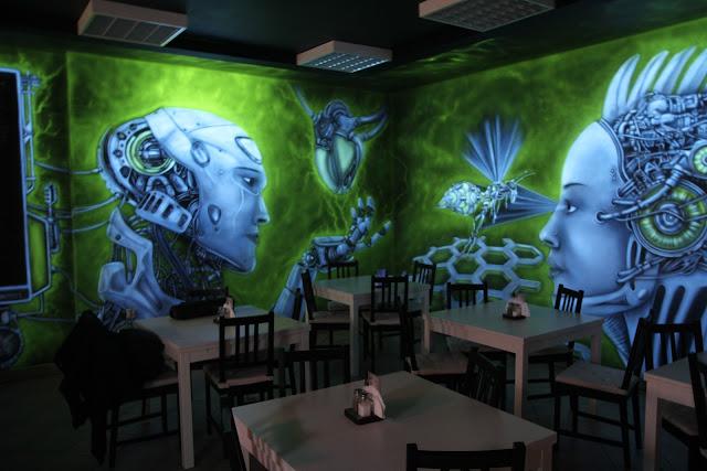 LLU Burger King Łuków, malowanie graffiti na ścianie, mural 3D, aranżacja ścian w pubie
