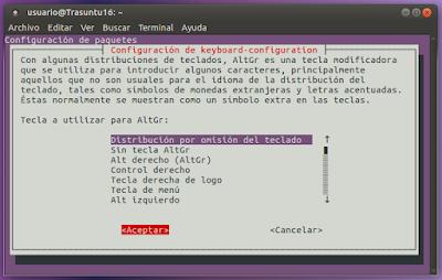 Configuración de teclado Distribución