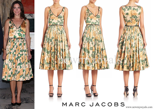 Crown Princess Mary wore Marc Jacobs Multicolor Rose-print Silk Cocktail Dress