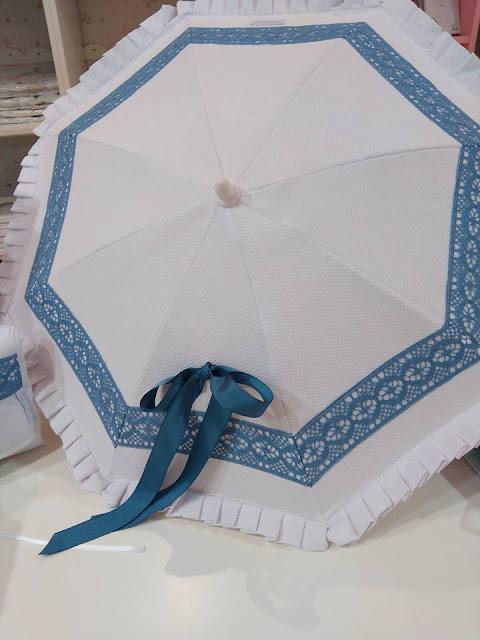 paraguas capazo blanco azulon