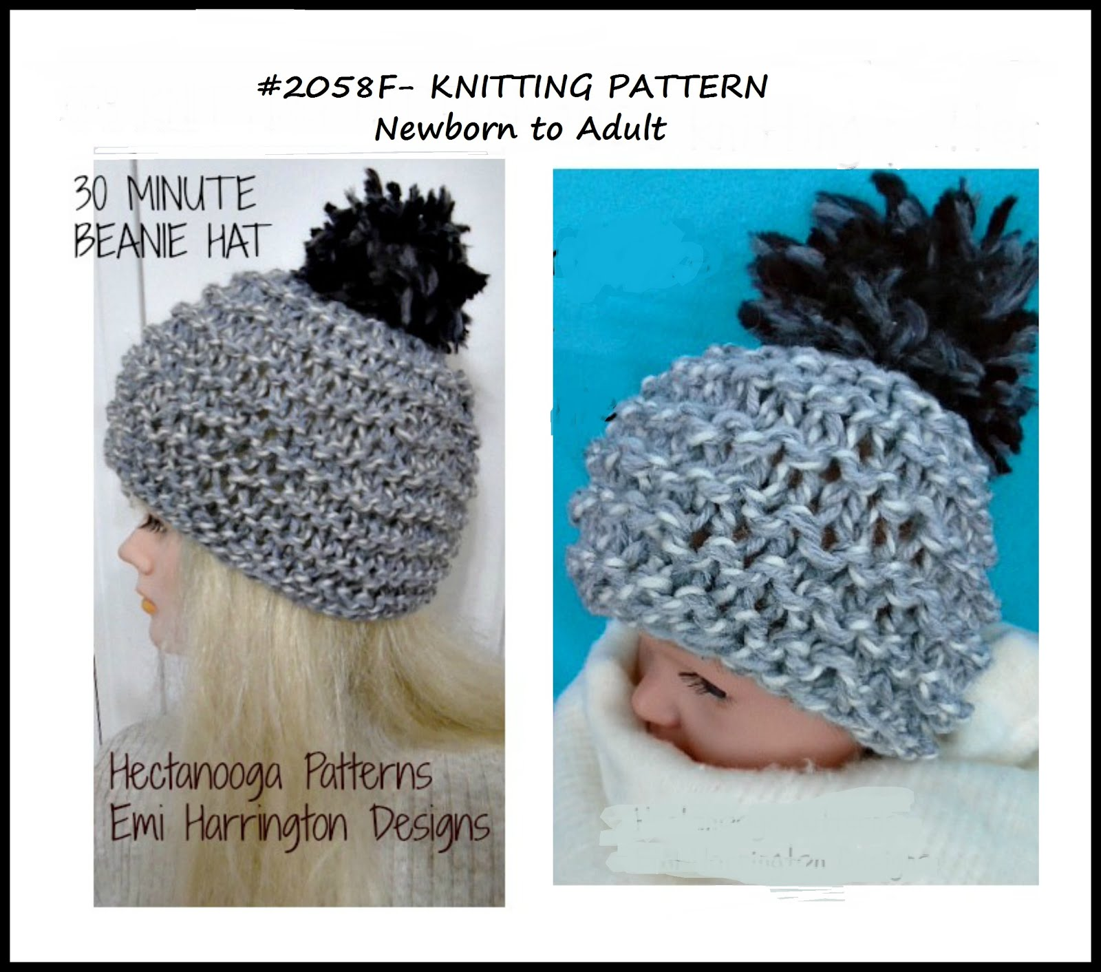 HECTANOOGA PATTERNS: FREE KNITTING PATTERN - 30 minute beanie hat ...