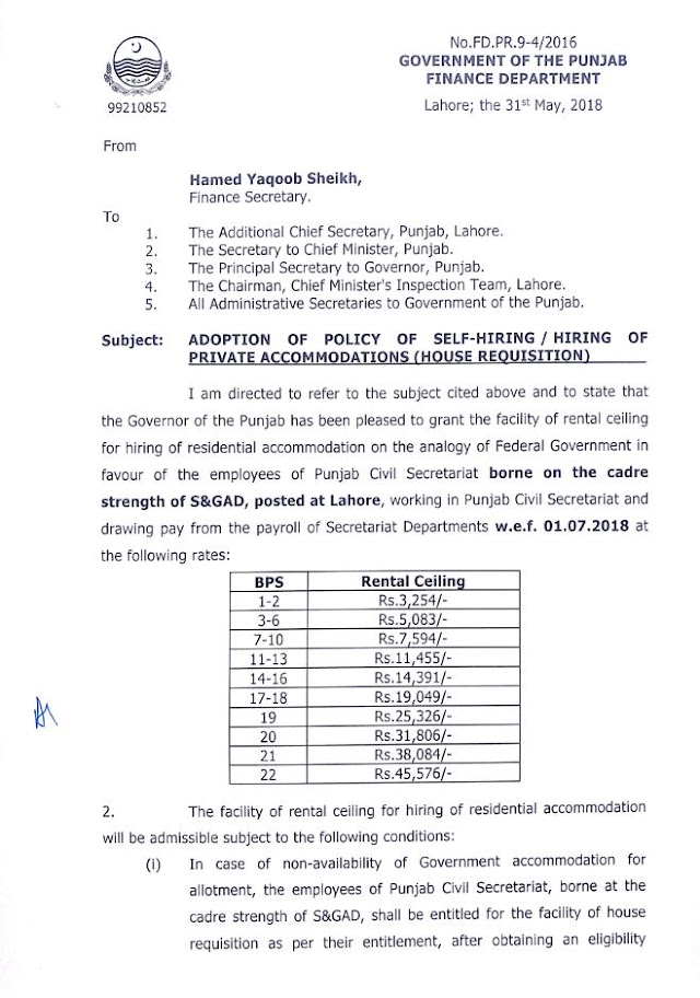 NOTIFICATION REGARDING ADOPTION OF POLICY OF SELF HIRING / HIRING OF PRIVATE ACCOMMODATIONS (HOUSE REQUISITION)