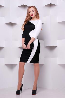 Vestido pegado blanco con negro