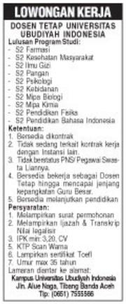Lowongan Dosen Tetap S2 Kesehatan Masyarakat Universitas Ubudiyah Indonesia Karir Aceh