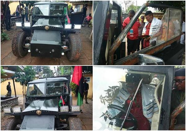 Biafra -  Nnamdi Kanu receives a Military Car manufactured by an Igbo Man