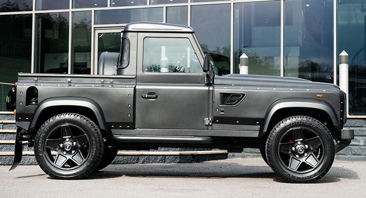kahn makes a hot pickup truck out of land rover defender. Black Bedroom Furniture Sets. Home Design Ideas