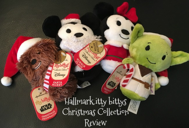 Hallmark-itty-bittys-Christmas-Collection-Review-text-over-image-of-Star-wars-and-Disney-toys
