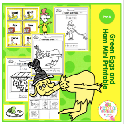image about Green Eggs and Ham Printable identified as Environmentally friendly Eggs and Ham Mini Printable ~ Preschool Printables