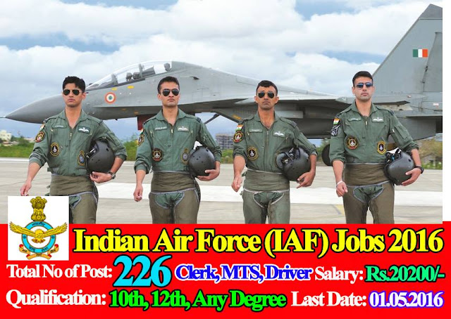 Indian Air Force (IAF) Jobs 2016 - 2017 226 Posts