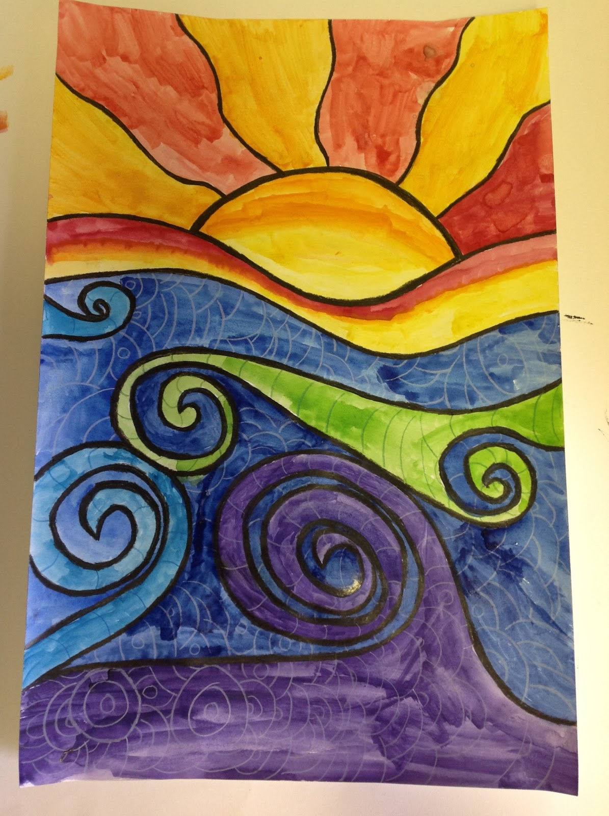 Color It Like you MEAN it!: 4th grade abstract sunsets