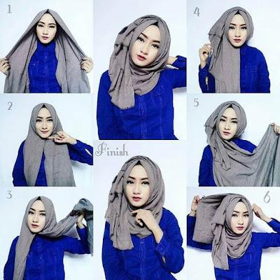 Tutorial Hijab Memakai Jilbab Pashmina Rawis Kusut yang Simple