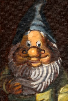 Oil painting close up of the face and upper body of a garden gnome.