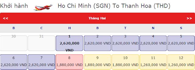 Vé máy bay tết Hồ Chí Minh đi Thanh Hóa chỉ 2,620k vnđ