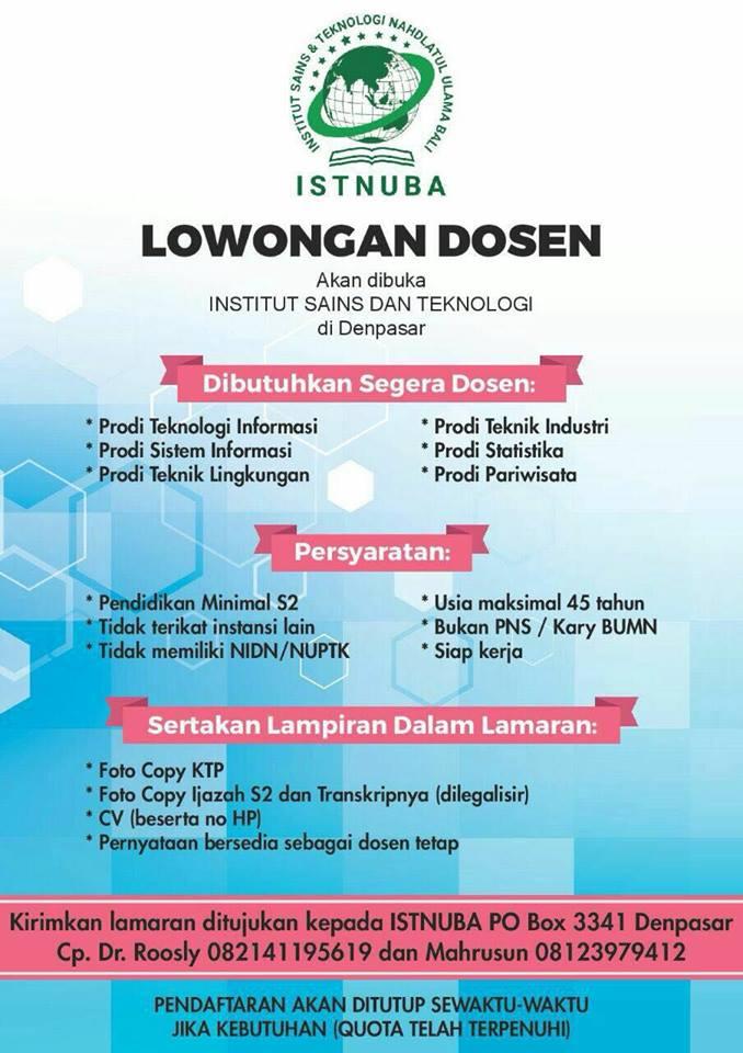 Lowongan Dosen Institut Sains dan Teknologi Denpasar Bali