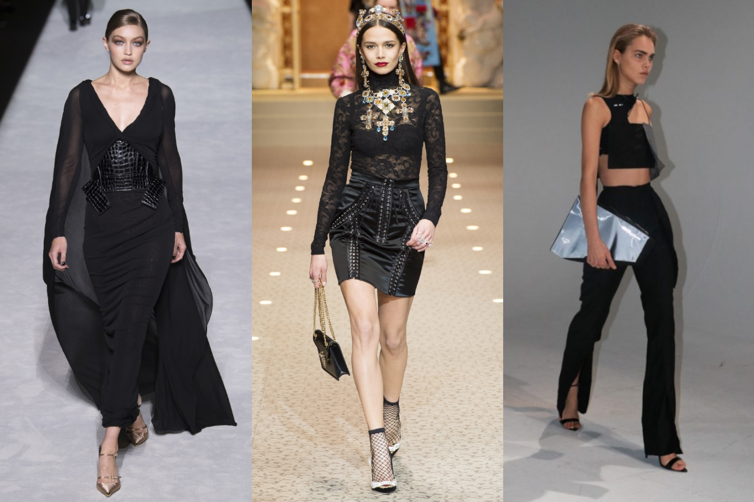 three total black outfit ideas from runway show